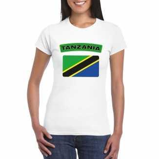 T shirt wit tanzania vlag wit dames