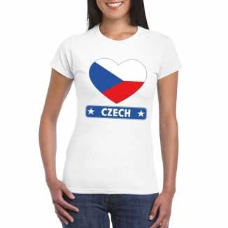 T shirt wit tsjechie vlag in hart wit dames