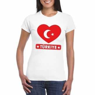T shirt wit turkije vlag in hart wit dames