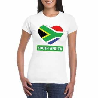 T shirt wit zuid afrika vlag in hart wit dames