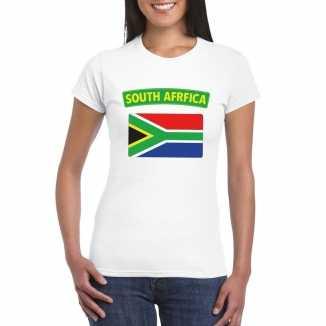 T shirt wit zuid afrika vlag wit dames
