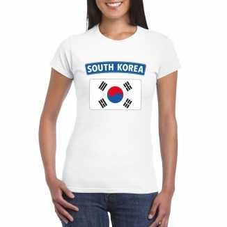T shirt wit zuid korea vlag wit dames