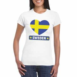 T shirt wit zweden vlag in hart wit dames