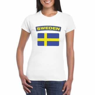 T shirt wit zweden vlag wit dames
