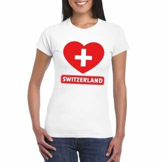 T shirt wit zwitserland vlag in hart wit dames