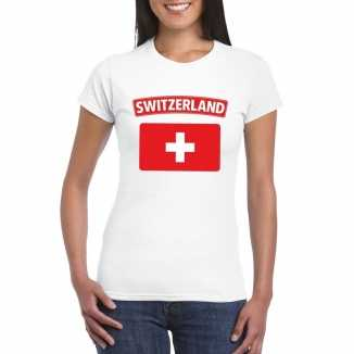 T shirt wit zwitserland vlag wit dames