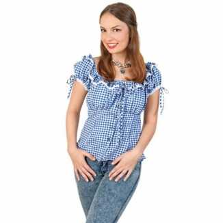 Tiroler shirt blauw wit dames