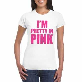 Toppers i am pretty in pink shirt wit dames