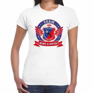 Toppers wit kort pittig team t shirt dames