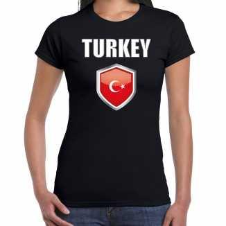 Turkije landen supporter t shirt turkse vlag schild zwart dames