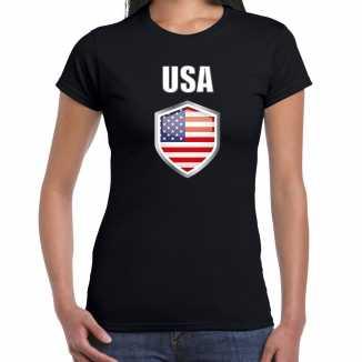 Usa landen supporter t shirt amerikaanse vlag schild zwart dames