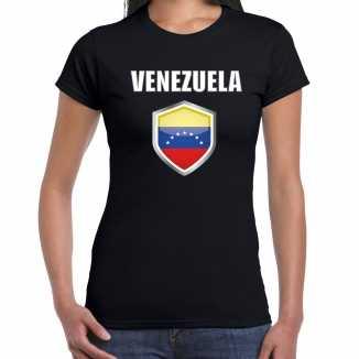 Venezuela landen supporter t shirt venezolaanse vlag schild zwart dames