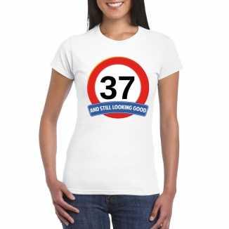 Verkeersbord 37 jaar t shirt wit dames