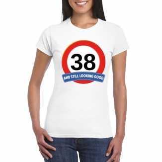 Verkeersbord 38 jaar t shirt wit dames