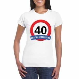 Verkeersbord 40 jaar t shirt wit dames