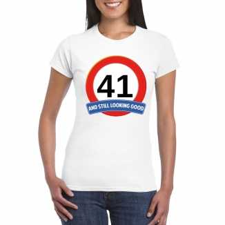 Verkeersbord 41 jaar t shirt wit dames