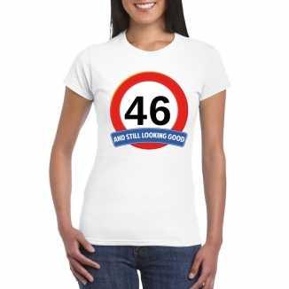 Verkeersbord 46 jaar t shirt wit dames