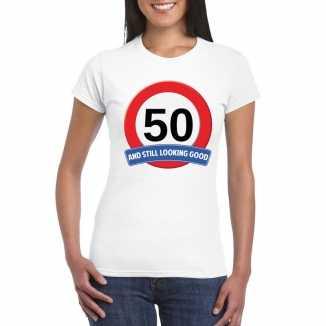 Verkeersbord 50 jaar t shirt wit dames