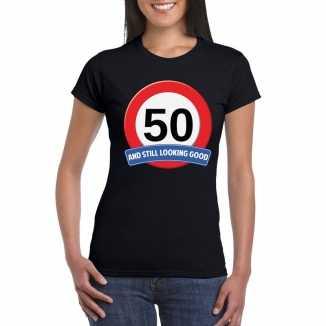 Verkeersbord 50 jaar t shirt zwart dames