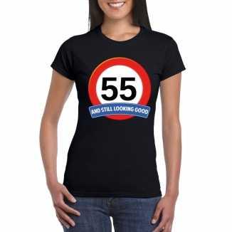 Verkeersbord 55 jaar t shirt zwart dames
