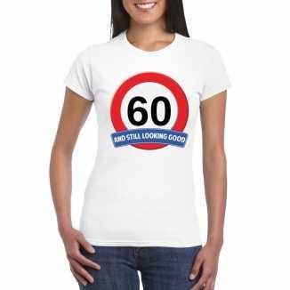 Verkeersbord 60 jaar t shirt wit dames