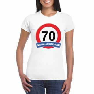 Verkeersbord 70 jaar t shirt wit dames