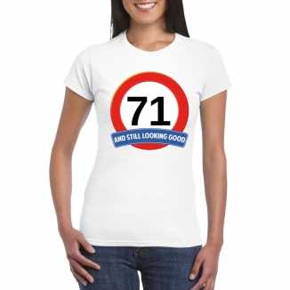 Verkeersbord 71 jaar t shirt wit dames