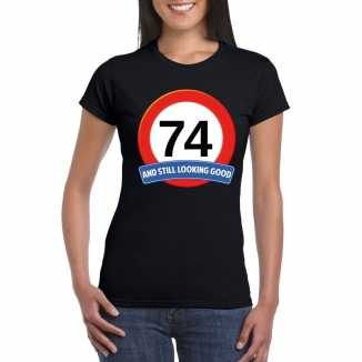 Verkeersbord 74 jaar t shirt zwart dames