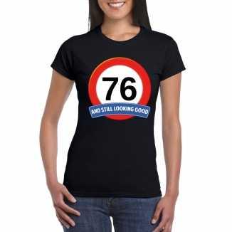 Verkeersbord 76 jaar t shirt zwart dames