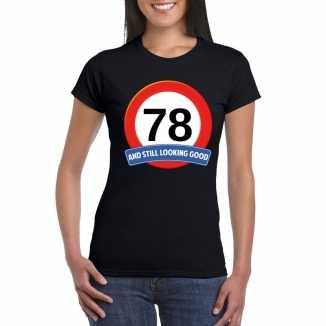 Verkeersbord 78 jaar t shirt zwart dames