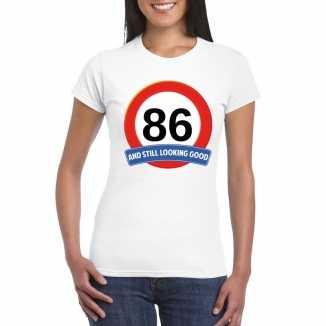 Verkeersbord 86 jaar t shirt wit dames