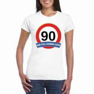 Verkeersbord 90 jaar t shirt wit dames