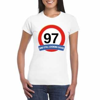 Verkeersbord 97 jaar t shirt wit dames
