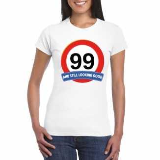 Verkeersbord 99 jaar t shirt wit dames