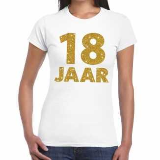 Wit achttien jaar verjaardag shirt dames gouden bedrukking
