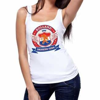 Wit holland drinking team tanktop mouwloos shirt dames 10140428