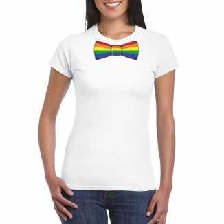 Wit t shirt regenboog vlag strikje dames