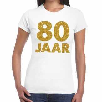 Wit tachtig jaar verjaardag shirt dames gouden bedrukking