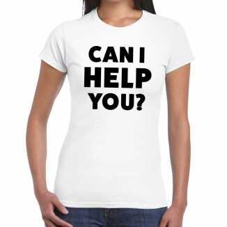 Wit tekst shirt can i help you bedrukking dames