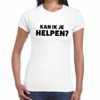 Wit tekst shirt kan ik je helpen bedrukking dames