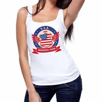 Wit usa drinking team tanktop / mouwloos shirt dames