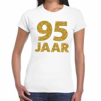 Wit vijfennegentig jaar verjaardag shirt dames gouden bedrukking