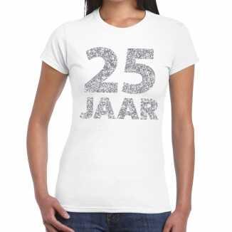 Wit vijfentwintig jaar verjaardag shirt dames zilveren bedrukking