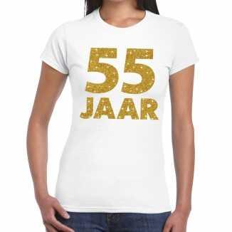 Wit vijfenvijftig jaar verjaardag shirt dames gouden bedrukking