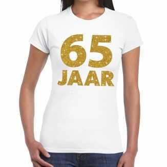 Wit vijfenzestig jaar verjaardag shirt dames gouden bedrukking