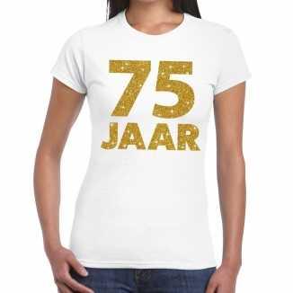 Wit vijfenzeventig jaar verjaardag shirt dames gouden bedrukking