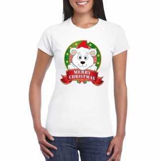 Witte ijsbeer kerst t shirt dames merry christmas
