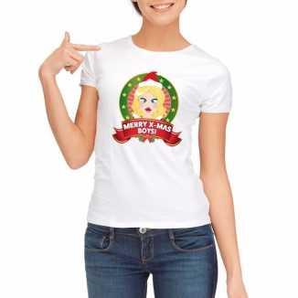 Witte kerst t shirt dames merry x mas boys