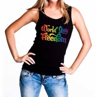 World gay freedom gaypride tanktop/mouwloos shirt zwart dames