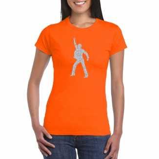 Zilveren disco t shirt / kleding oranje dames